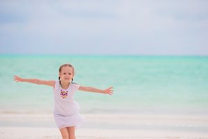 Little adorable girl on beach vacation