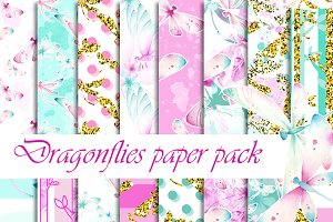 Dragonfly digital paper pack