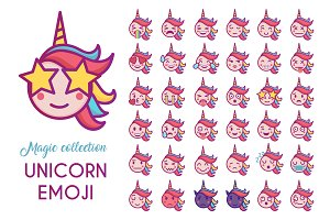 Cute unicorn emoji in vector EPS10