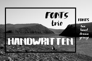 Handwritten grunge fonts trio