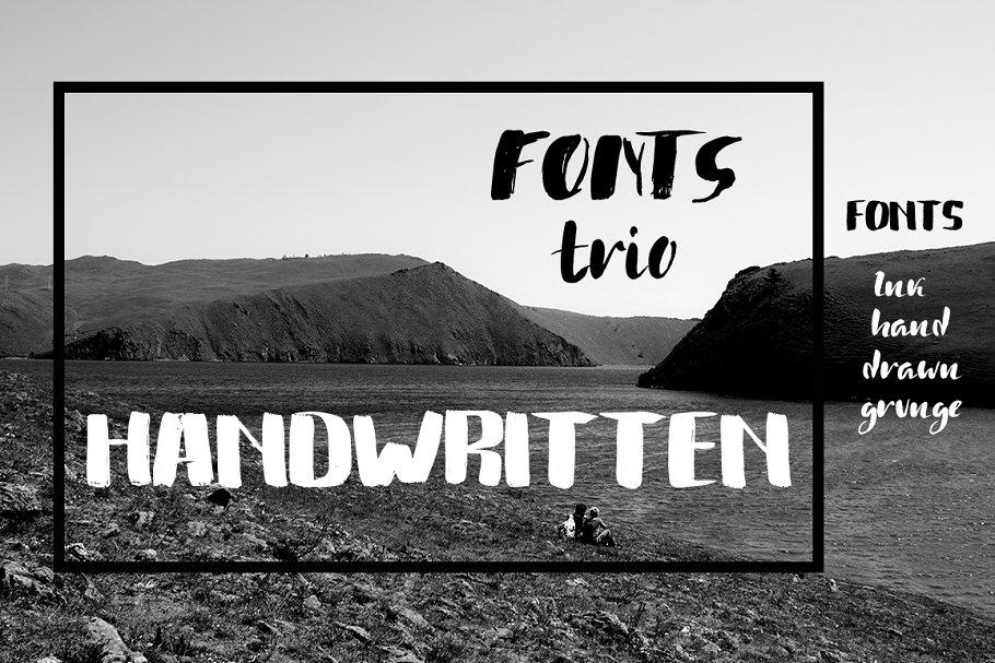 Handwritten grunge fonts trio