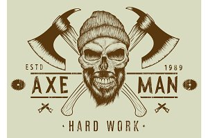 Lumberjack bearded skull in hat with two axes