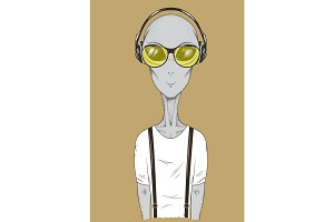 Alien in headphones listening to music vector