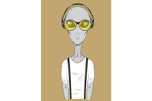 Alien in headphones listening to music vector