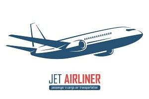 Jet airliner emblem