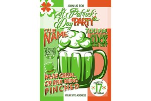 Vector illustration of patricks day party invitation poster template design