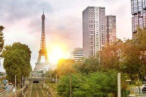 Railway and Eiffel Tower.