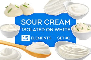 Sour cream bundle isolated on white