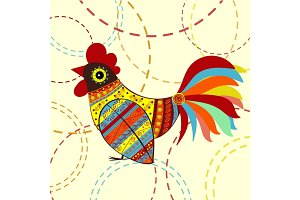 Cock bird ethnic pattern