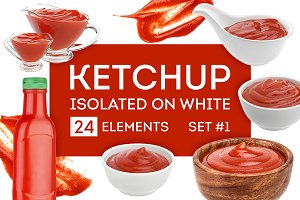 Ketchup bundle isolated on white