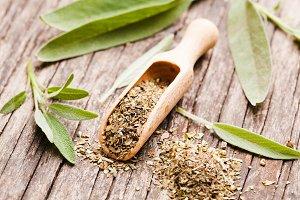 Dry sage herb