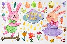 Watercolor Easter set elements