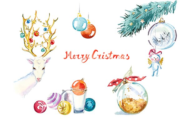 Watercolor Christmas clipart set ~ Illustrations ...