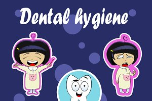 Cartoon dental hygiene concept