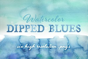 Watercolor Dipped Blues