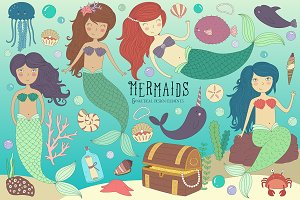 Mermaid & Sea Life Clipart Bundle