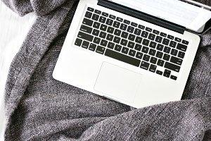Laptop On Blanket