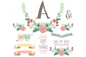 Flower Monogram Table Card