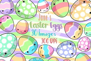 Kawaii Easter Eggs Clipart