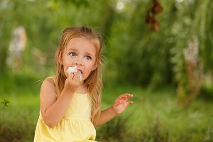 Little girl eating cotton candy.