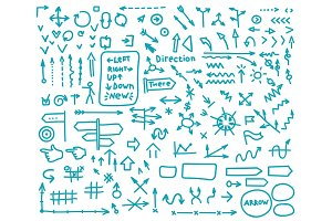 Set of pointers and arrows hand-painted marker or blue ink. Navigation lines many species. Vector sketch