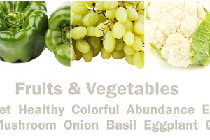 Line from different colorful vegetables and fruits