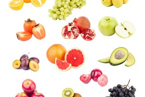 Mix from different colorful raw fruits and vegetables