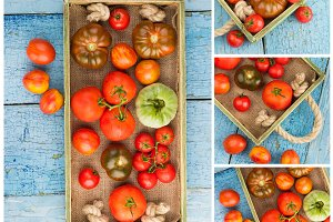 Collage from different sorts of ripe tomatoes in the wooden tray