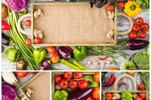 Collage from different colorful vegetables in the wooden tray