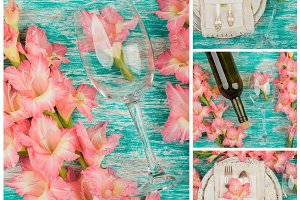 Tableware and silverware with light pink gladiolus on the light background