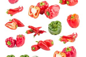 Set of different variations of red and green peppers