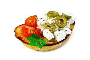 Sandwich with feta, tomato, olives