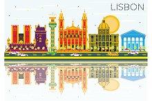 Lisbon Skyline with Color Buildings