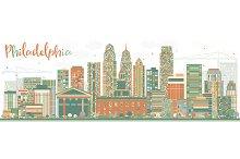 Abstract Philadelphia Skyline