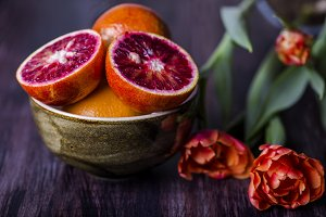Ripe Sicilian orange slice on the table