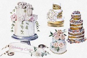 Watercolor Wedding Cakes Clipart Set