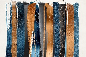 Copper and Prussian Paint Strokes