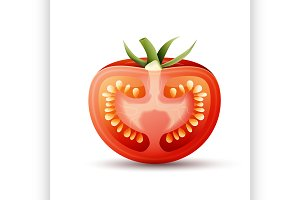 Half tomato illustration