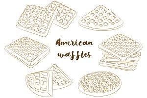 various American waffles.