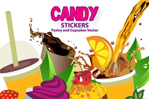 Candy vector stickers