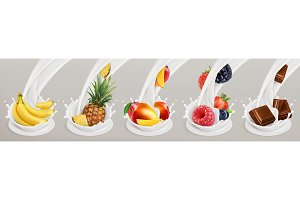 Fruit, berries, yogurt. Vector set
