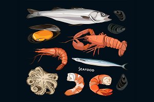 Vector Seafood set