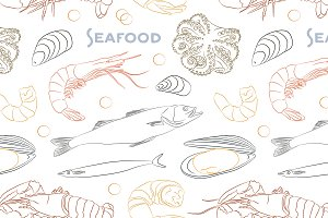 Vector Seafood set pattern