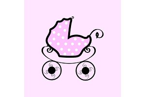 Pink baby stroller with polka dots
