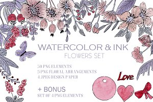 ROMANCE watercolor Ink flowers+Bonus