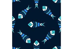 Mosaic fish vector seamless pattern