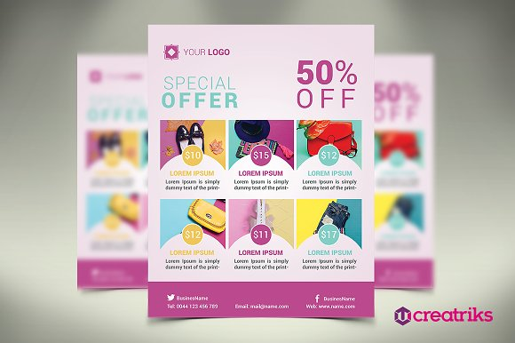 special offer flyer flyer templates on creative market. Black Bedroom Furniture Sets. Home Design Ideas