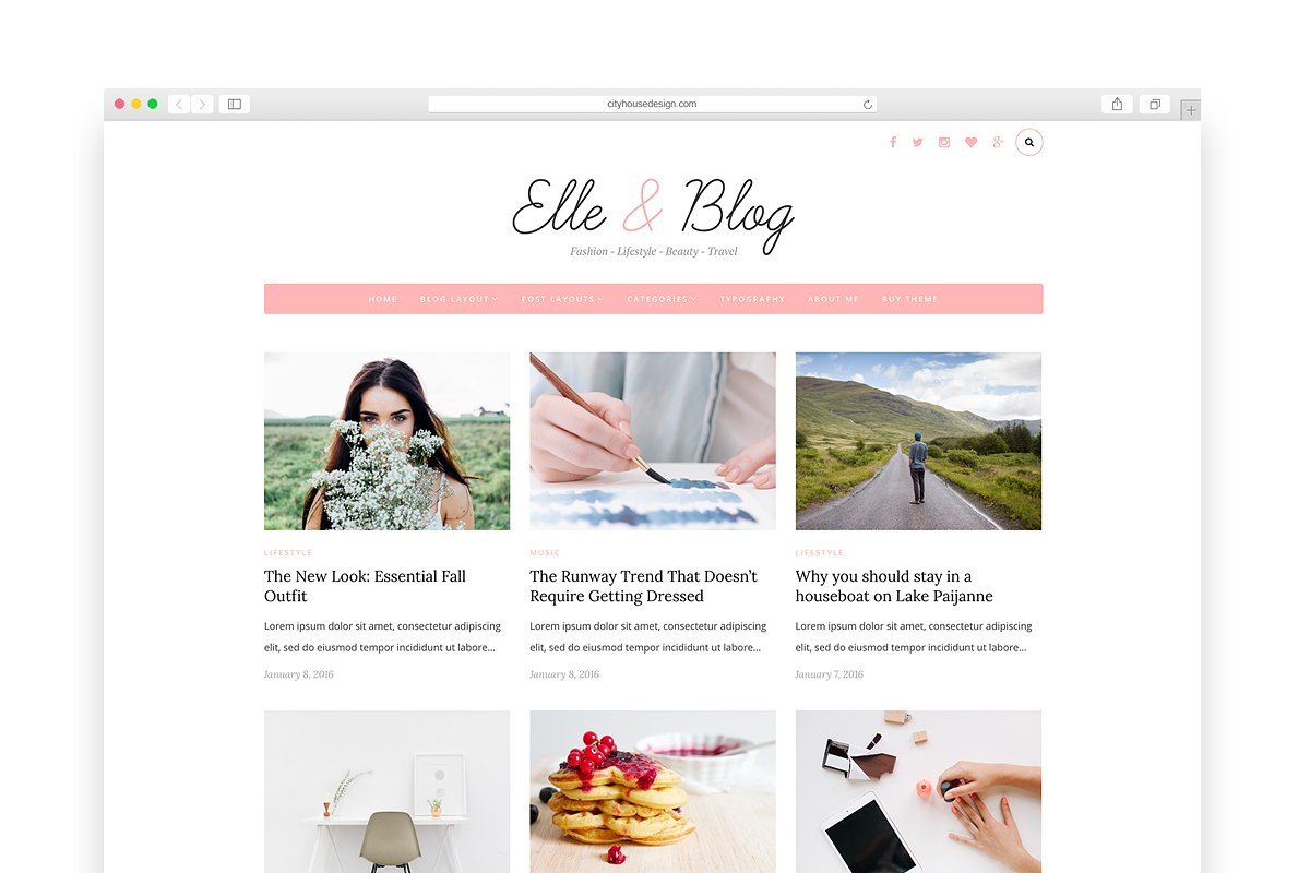 Elle & Blog - Wordpress blog theme ~ WordPress Blog Themes