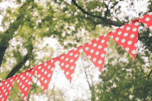 Red bunting flags