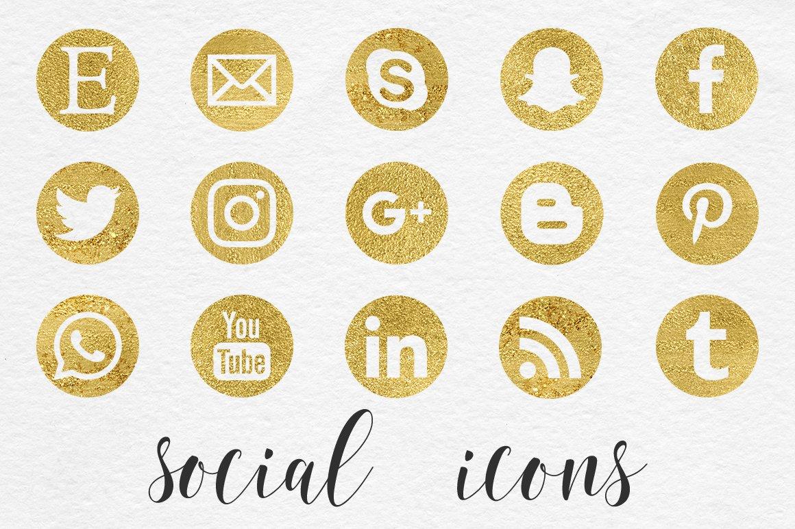 Gold Social Media Icons Social Media Templates